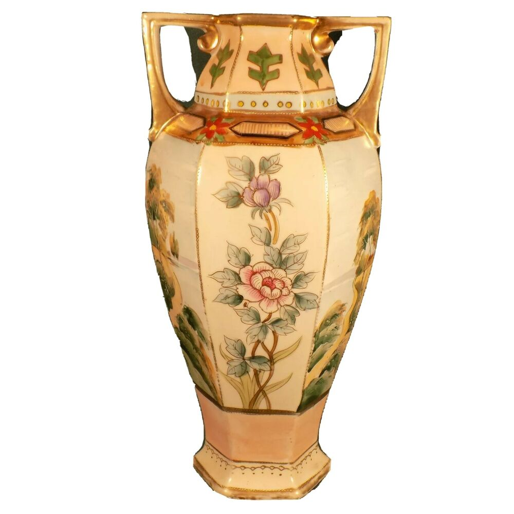 Antique Floral: ANTIQUE PORCELAIN VASE STUDIO HAND PAINTED CHINA FLOWER