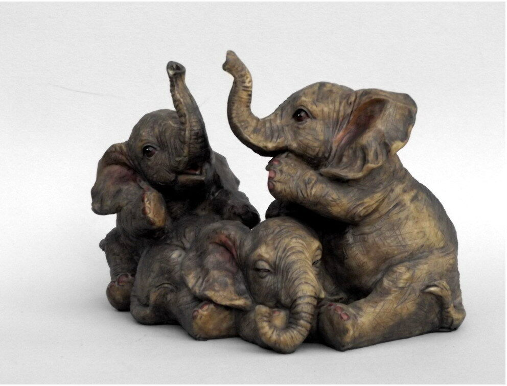 elefant 3 elefanten babys deko artikel garten tier figur skulptur afrika statue ebay. Black Bedroom Furniture Sets. Home Design Ideas