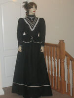 VICTORIAN / EDWARDIAN  STYLE BLACK & CREAM  3 PIECE OUTFIT  Size  18/20