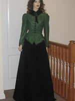 VICTORIAN / EDWARDIAN STYLE LADIES 3 PIECE  OUTFIT  (Green/Black)