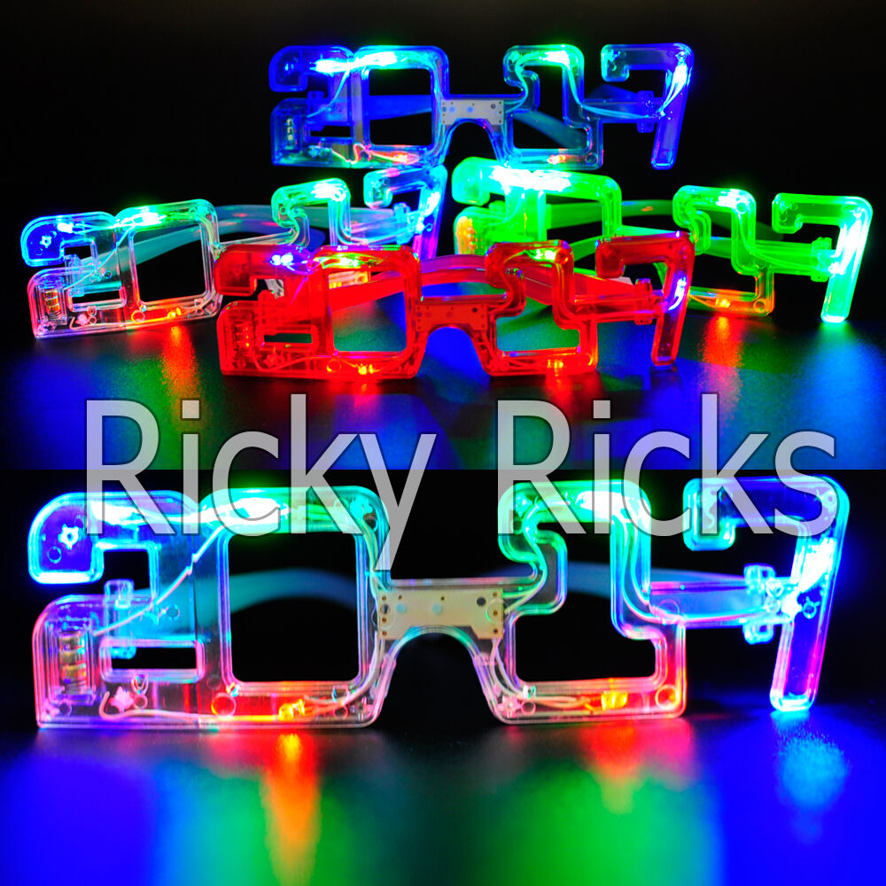 12 Light Up New Years Eve Party Glasses LED Supplies 2017 ...