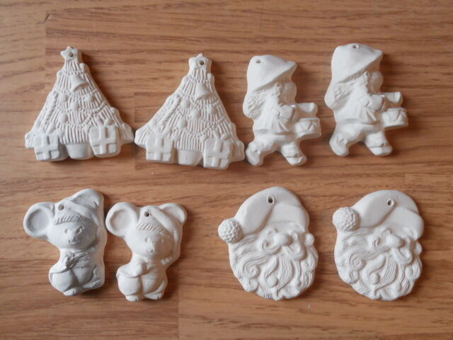 C 0754 8 flat one sided christmas ornaments 4 pairs for Plaster crafts to paint