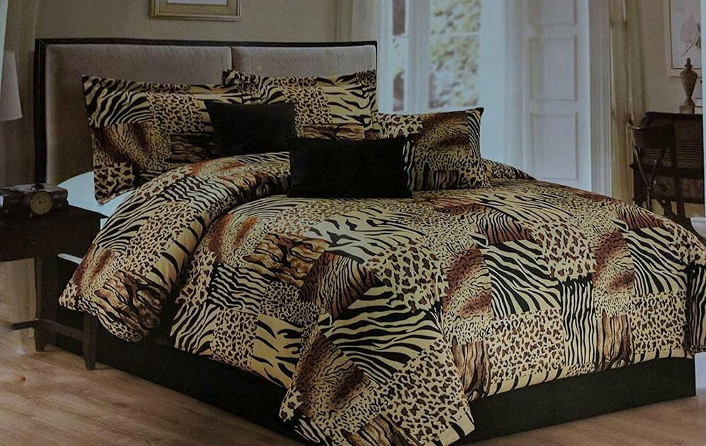 Twin Full Queen Cal King Bed Leopard Zebra Black Brown Fur