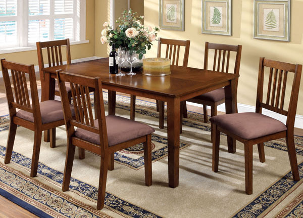 New 7pc mason mission style dark oak finish wood dining for Mission style dining table