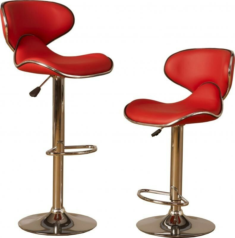 Bar Stools Breakfast Kitchen Pub High Chairs Chair Set Stool Pair Red Seats Ebay