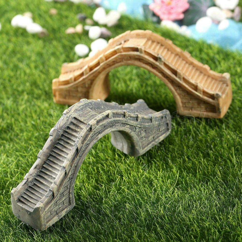 Resin bridge aquarium decor fairy garden ornament for Garden ornaments and accessories