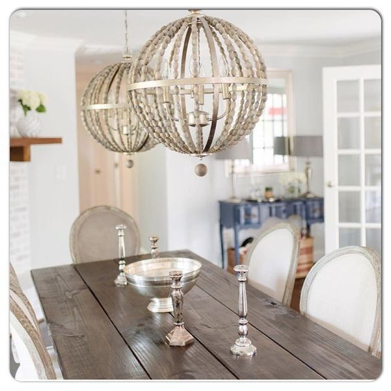 French Modern Farmhouse Wood Beaded Chandelier Globe Orb
