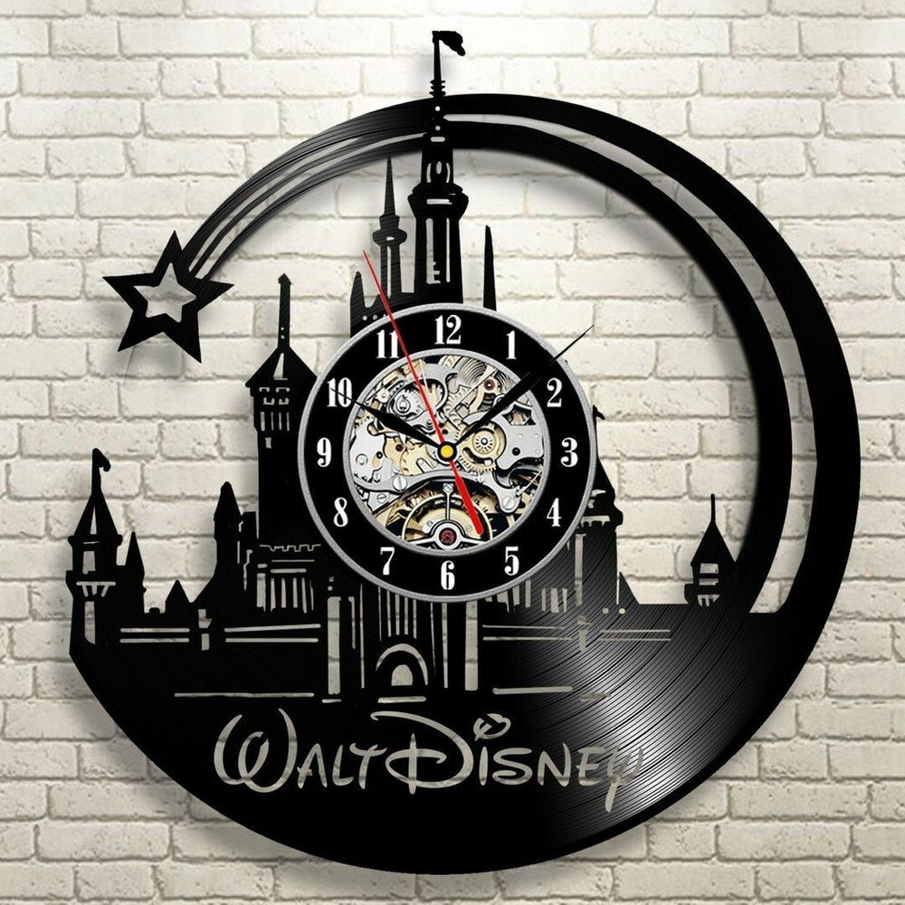 Disney movies exclusive wall clock made of vinyl record for Vinyl records decorations for wall