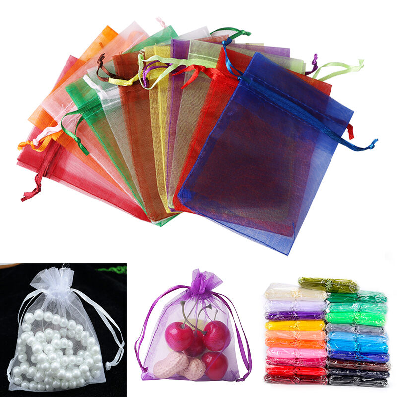 Wedding Gift Pouches: 100pc Organza Gift Bags Jewelry Candy Bag Wedding Favors