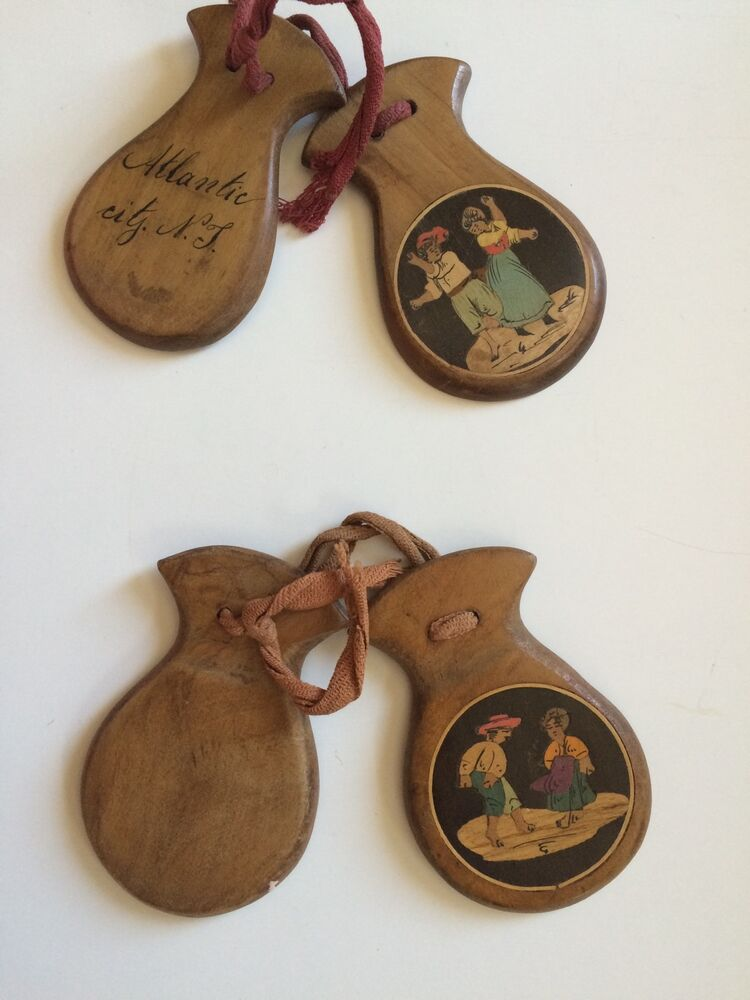 Antique wooden castanets hand carved inlaid wood ebay