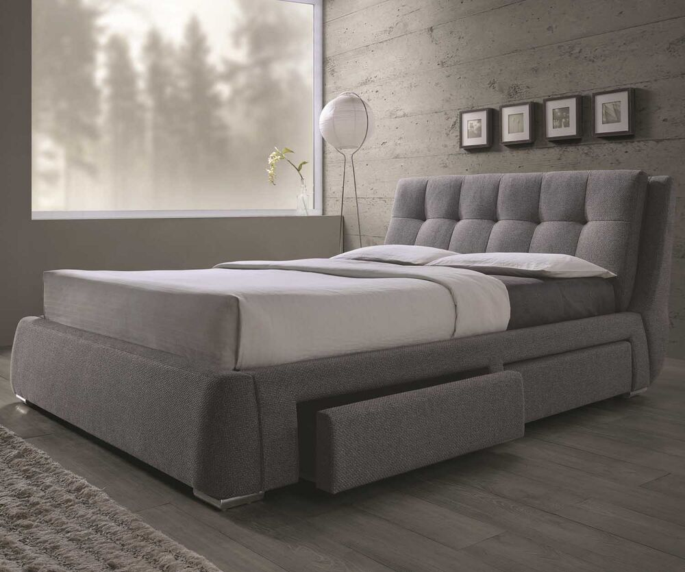 Modern newcrest tufted gray fabric platform storage - Modern queen bed with storage ...