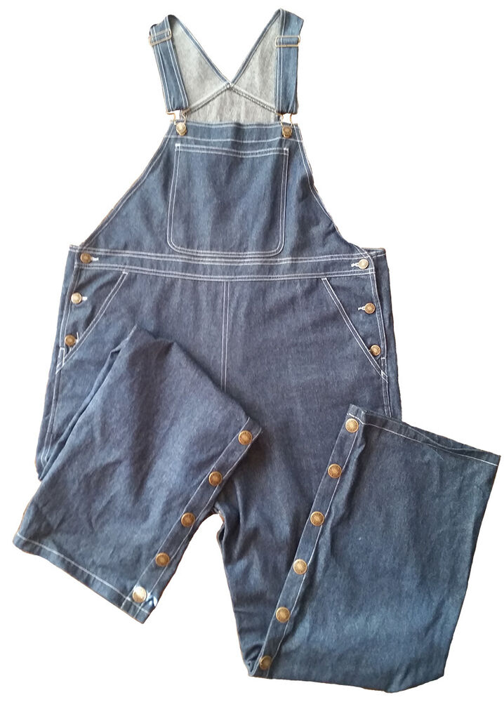 Baby Pants Adult Size Blue Denim Overalls With Snap Legs