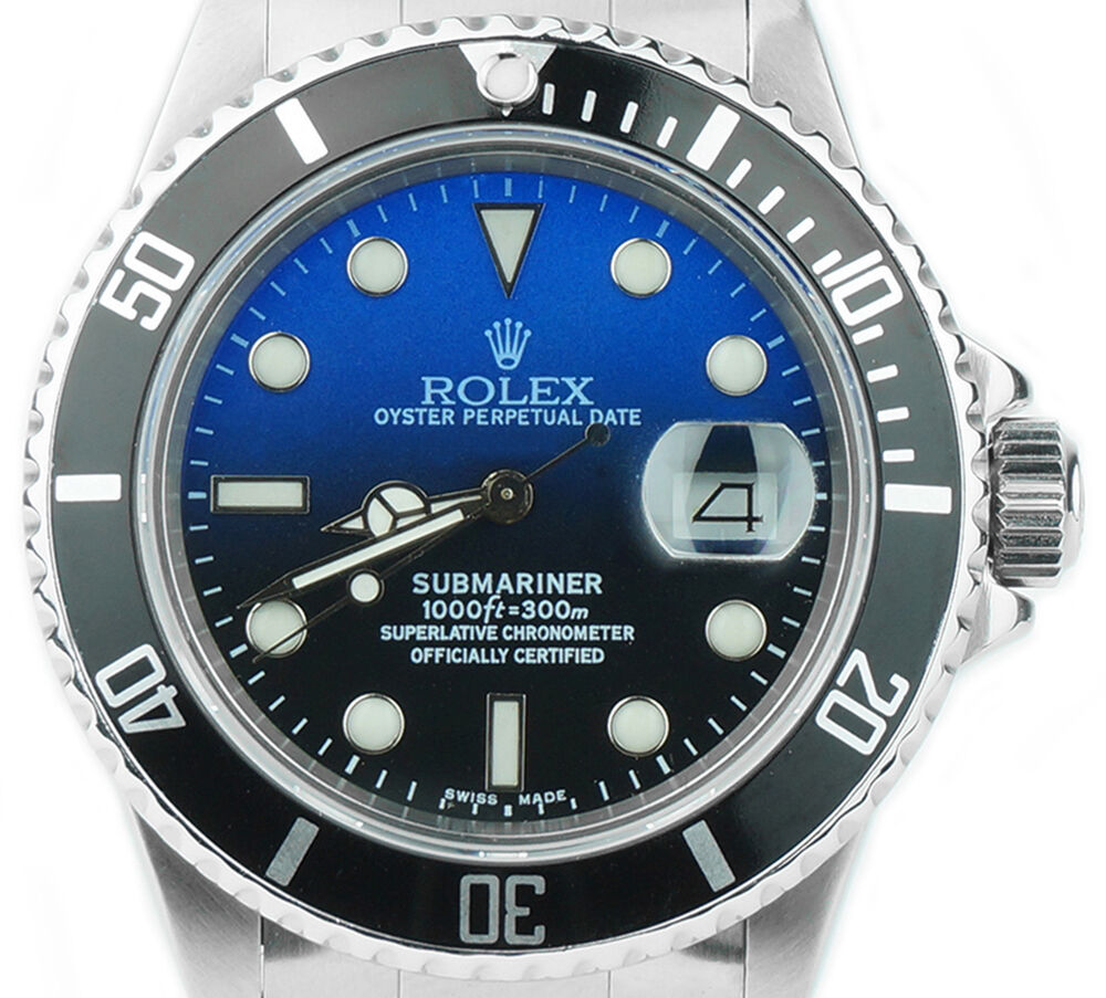 Rolex submariner 16610 custom deep blue dial stainless steel mens dive watch ebay for Submariner rolex blue