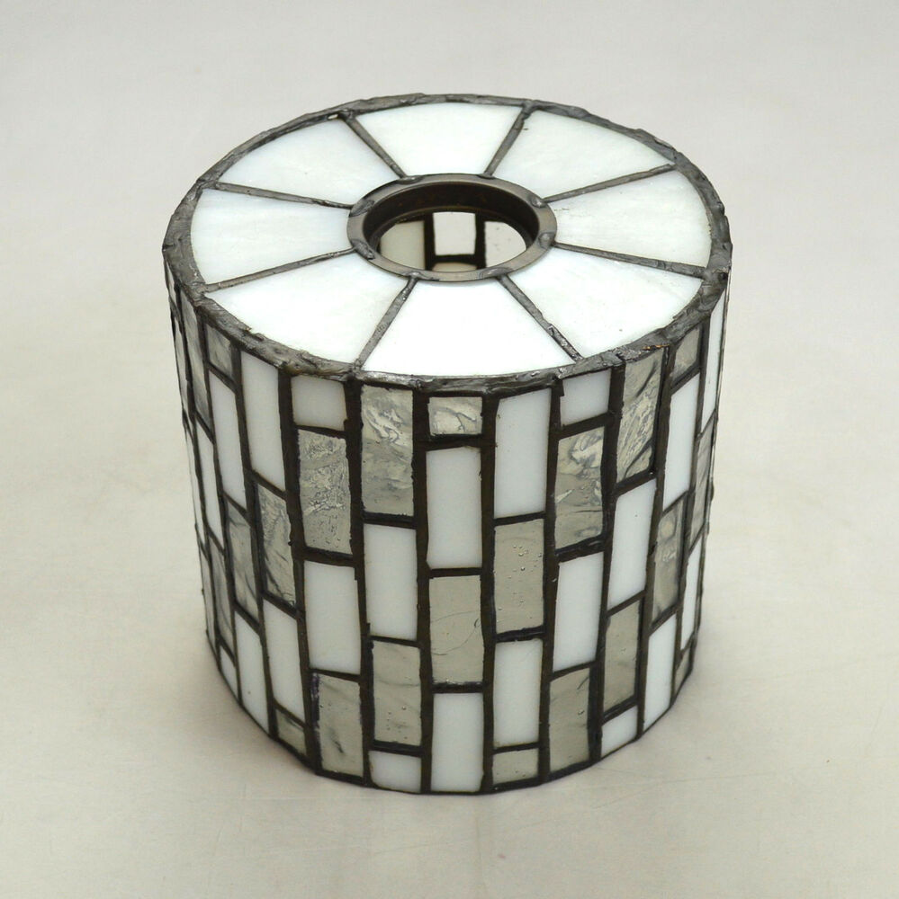 vtg leaded stained glass art deco small retro lamp shade. Black Bedroom Furniture Sets. Home Design Ideas