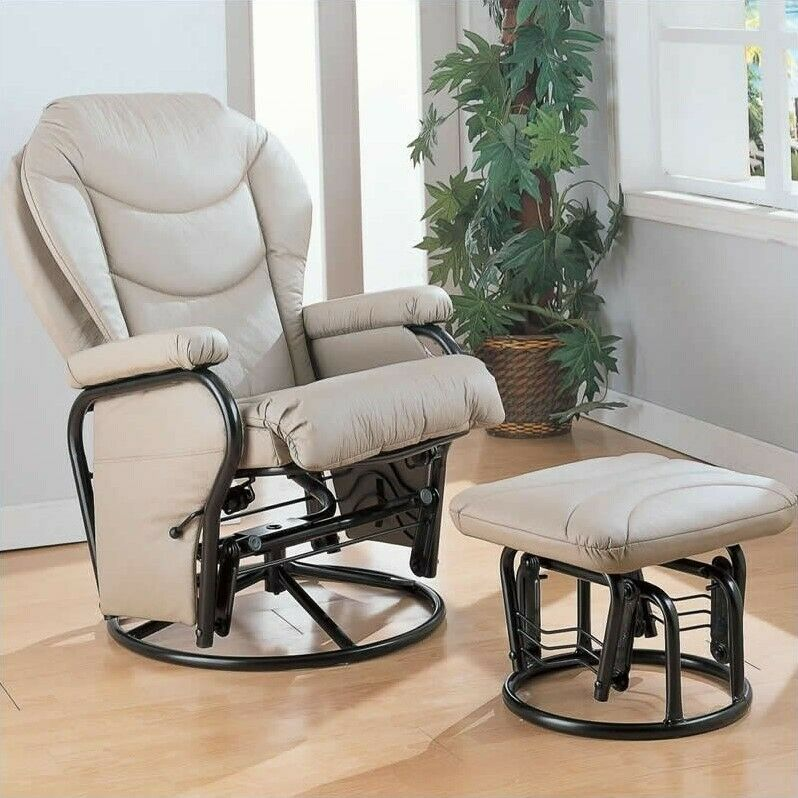 leather glider chair coaster faux leather recliner glider chair with ottoman in 16636 | s l1000