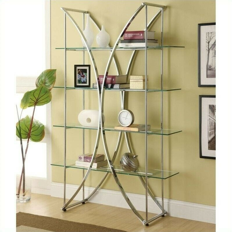 Coaster X Motif Bookshelf With Floating Style Glass