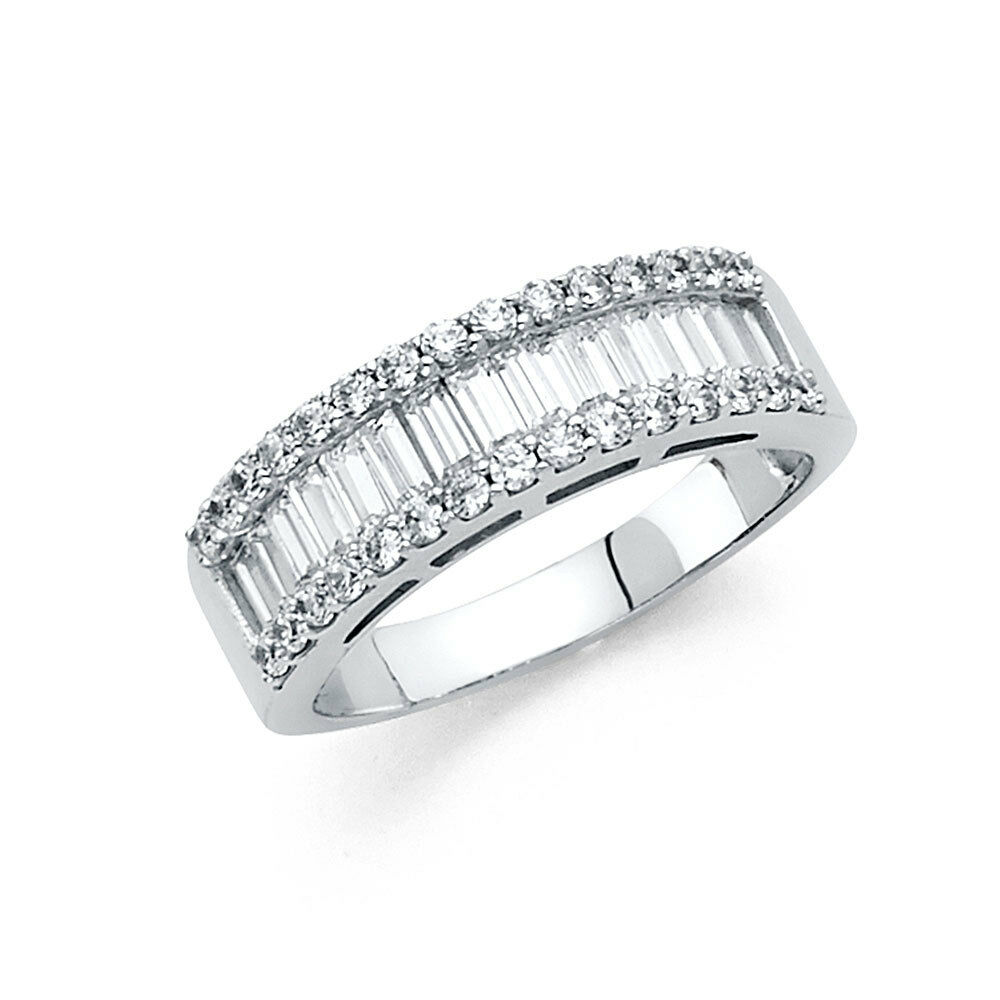 14k solid white gold diamond wedding band anniversary ring for 1 ct wedding ring