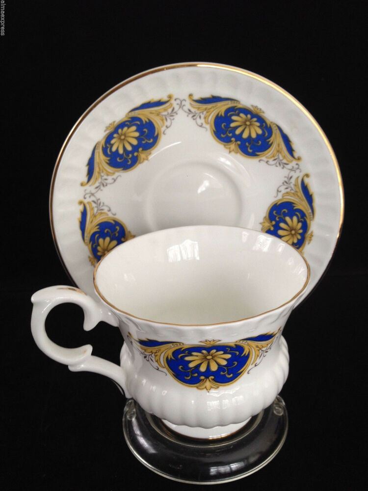 Crown Staffordshire China England White Gold Blue Crest