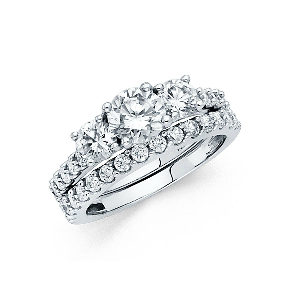 14k solid white gold 3 0 ct diamond ring set engagement ring with wedding band ebay. Black Bedroom Furniture Sets. Home Design Ideas