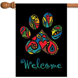 Toland Wacky Welcome Paw 28 x 40 Colorful Neon Dog Cat Pet House Flag