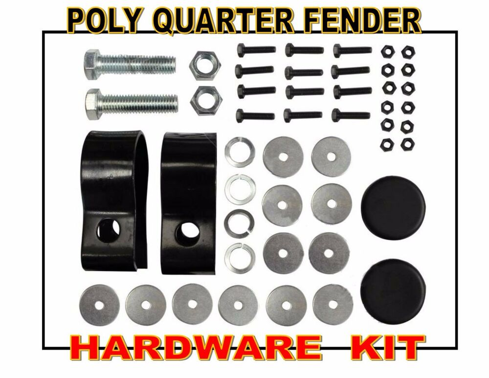Newlife Poly Quarter Fenders : Hardware kit for poly quarter fenders clamps washers