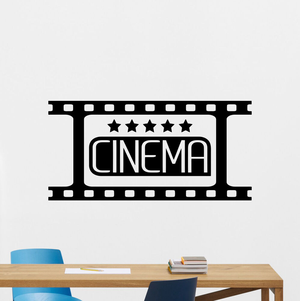 cinema wall decal film strip video movie vinyl sticker home theater decor 174crt ebay. Black Bedroom Furniture Sets. Home Design Ideas