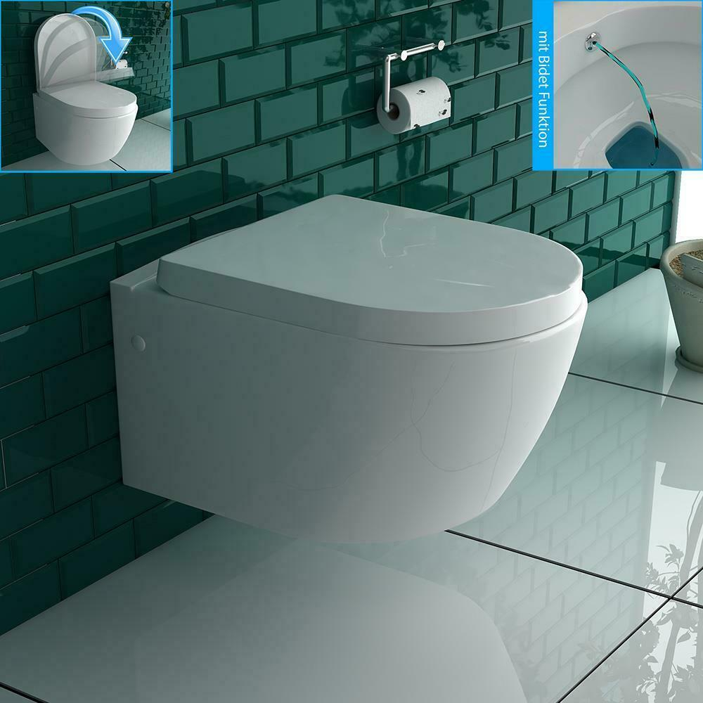 bad1a h nge wc taharet bidet funktion keramik wc wc sitz mit soft close ebay. Black Bedroom Furniture Sets. Home Design Ideas