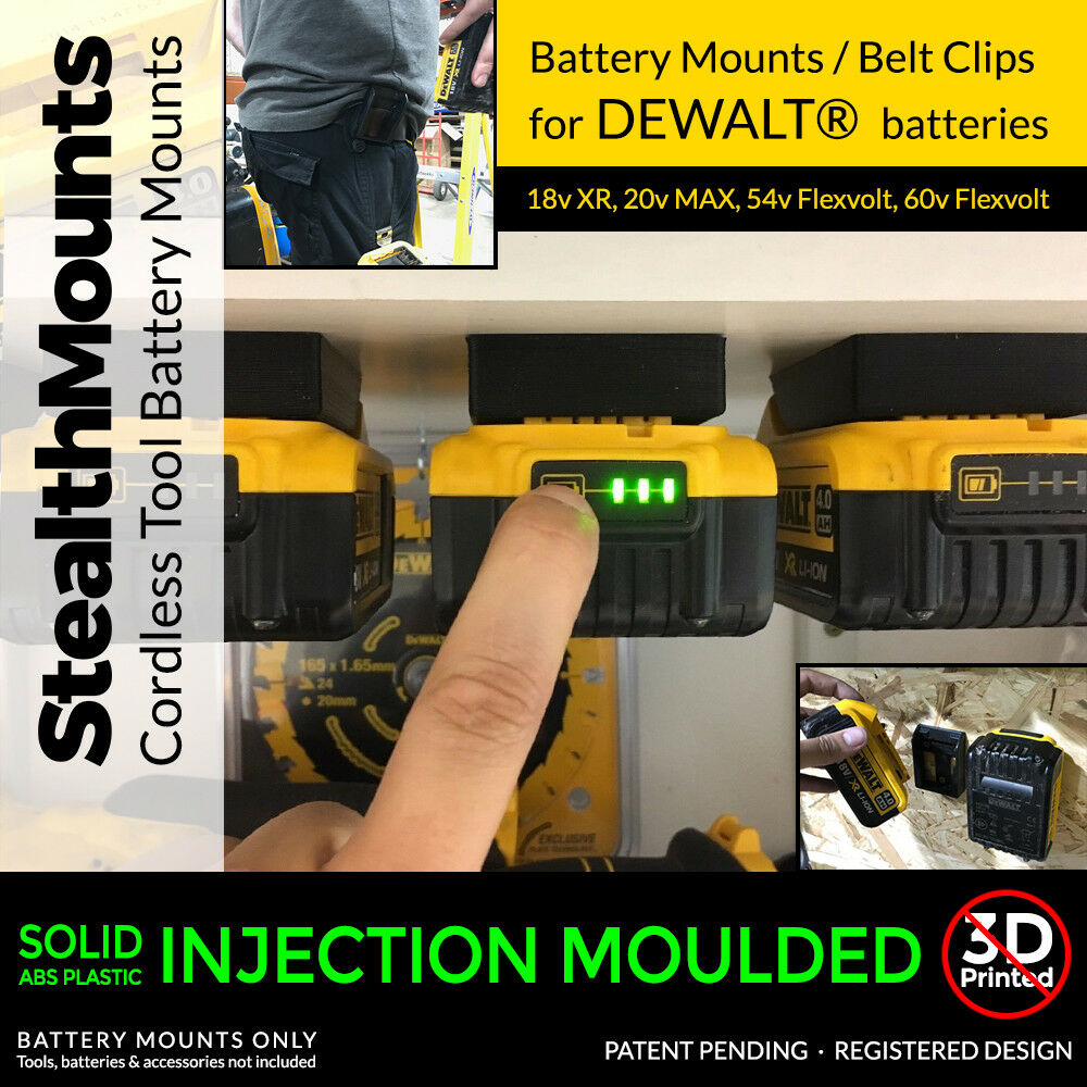 5x Battery Mounts For Dewalt Xr 18v Storage Shelf Rack