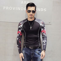 Stylish Men T-Shirts Long Sleeve Print Casual Shirt Crew Neck Pullover Tops