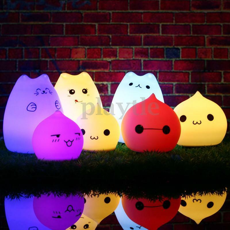 Squishy Cat Night Light : 7 Color Changing USB Silicone LED Cat Night Light Soft Baby Nursery Table Lamp eBay