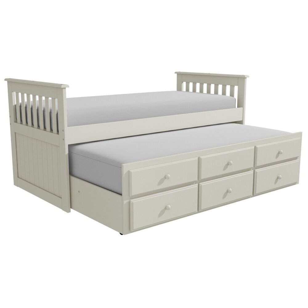 Cream Guest Bed Captains Bed Trundle Bed 3 Storage