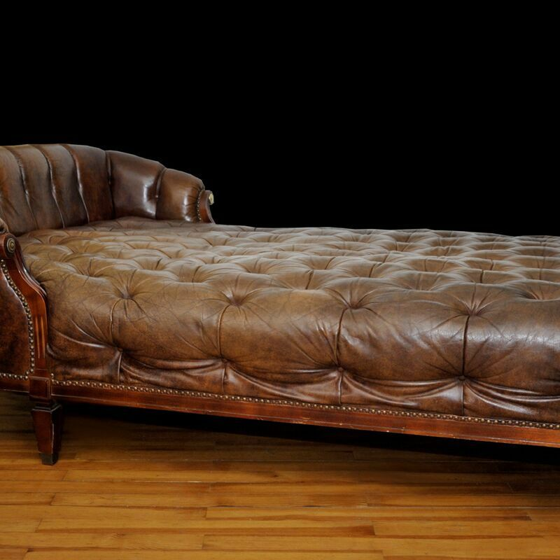 chesterfield recamiere chaise lounge leder bett antik luxus klasse ebay. Black Bedroom Furniture Sets. Home Design Ideas