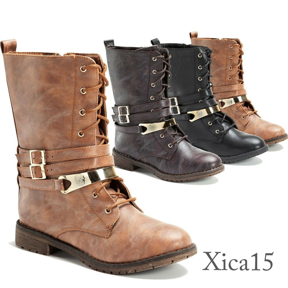 Lastest New Womens Military Combat Studded Boot Lace Up Women Fashion Boots Size 5.5~10 | EBay