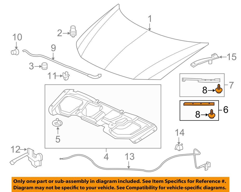 details about honda oem 13-15 civic hood-front seal gasket right 74142tr3a00