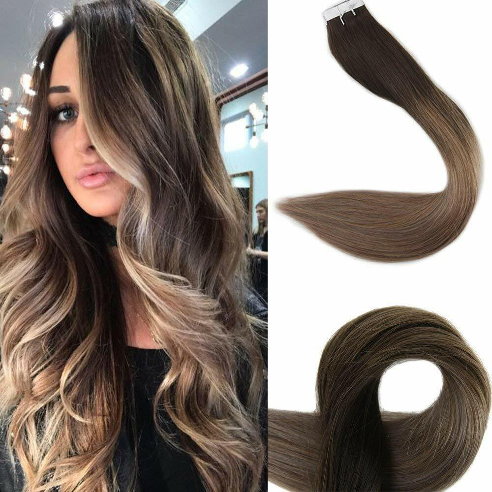 18 Quot Balayage Ombre Tape In Remy Human Hair Extensions Dark