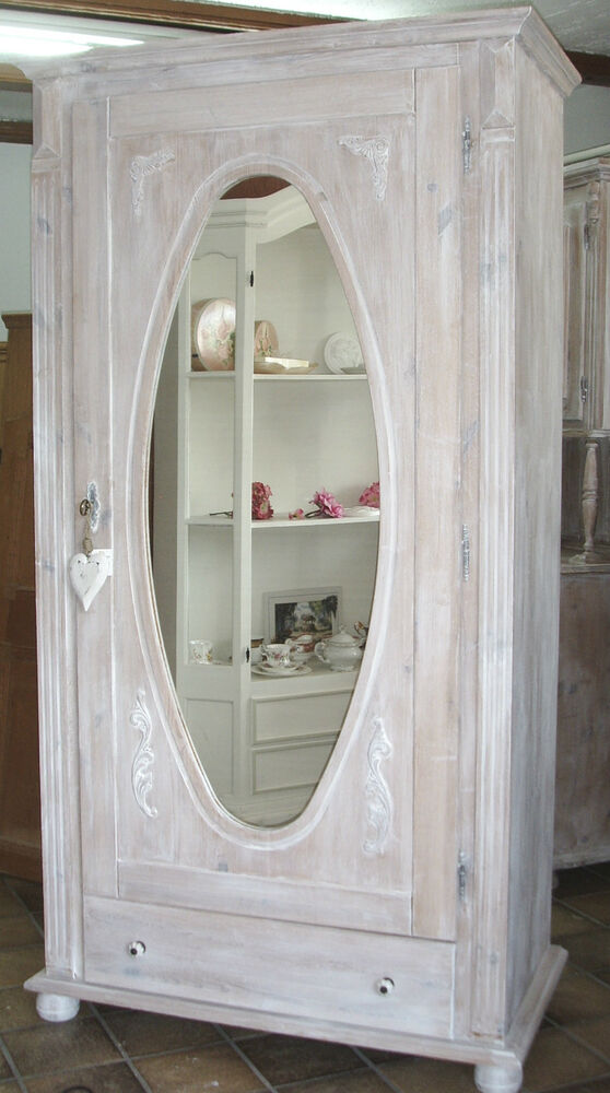 schrank spiegel flurschrank dielenschrank spiegelschrank shabby vintage weiss ebay. Black Bedroom Furniture Sets. Home Design Ideas