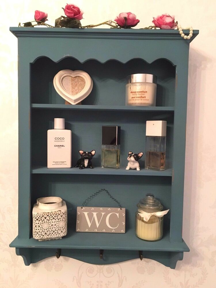 Shabby Chic Wall Shelf Unit Vintage Display Cabinet Bathroom Shelves Storage Ebay