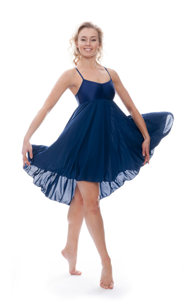 Ladies Girls Navy Blue Lyrical Dress Contemporary Ballet