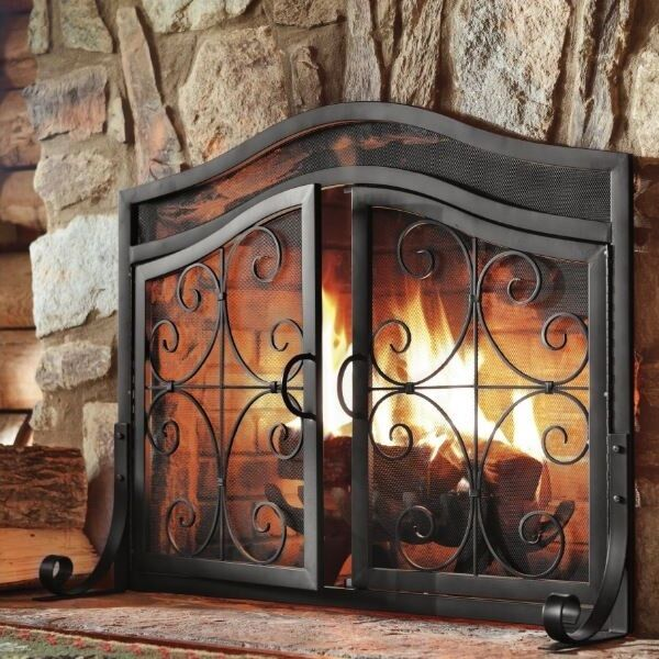 Fireplace Screens With Doors Black Small Decorative