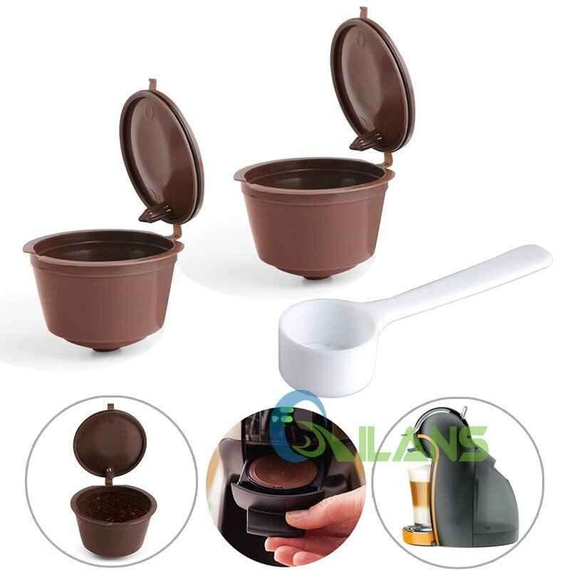 4 reusable coffee capsules cup filter for dolce gusto refillable brewers nescafe ebay. Black Bedroom Furniture Sets. Home Design Ideas