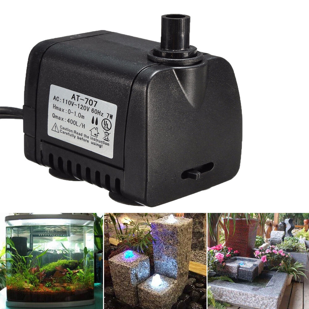 Ac 110v 120v 7w 400l h small submersible water pump for Small water fountain pump