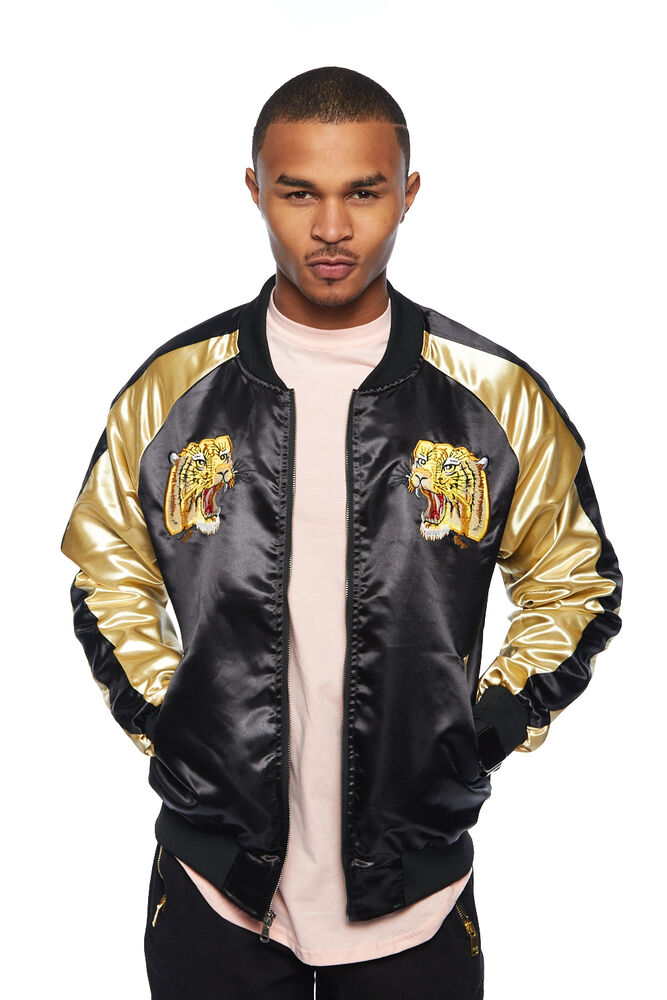 Mens Shiny Color Block Animal Embroidered Bomber Jacket