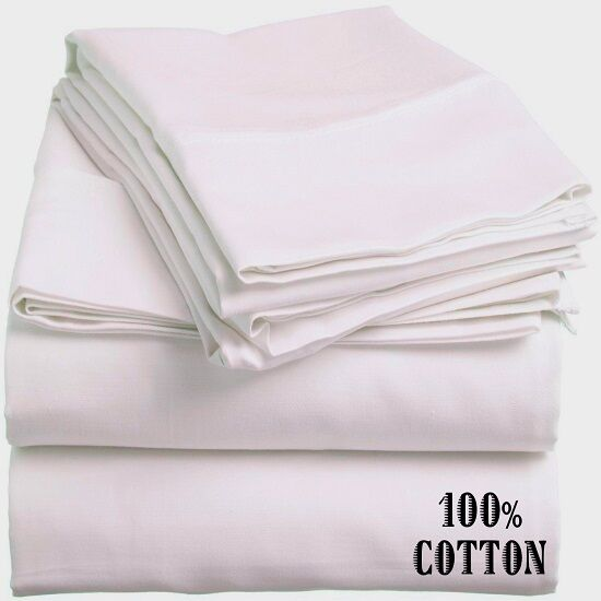 4 new white king size hotel flat sheets 108x110 200 threadcount 100 cotton ebay. Black Bedroom Furniture Sets. Home Design Ideas