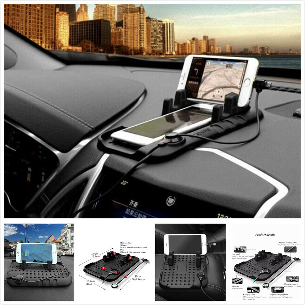 Car Cell Phone Charger Holder Pad Dash Mat Support