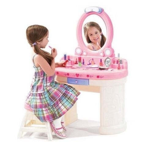 vanity set for girls little girl make up table stool mirror light kids play toy ebay. Black Bedroom Furniture Sets. Home Design Ideas
