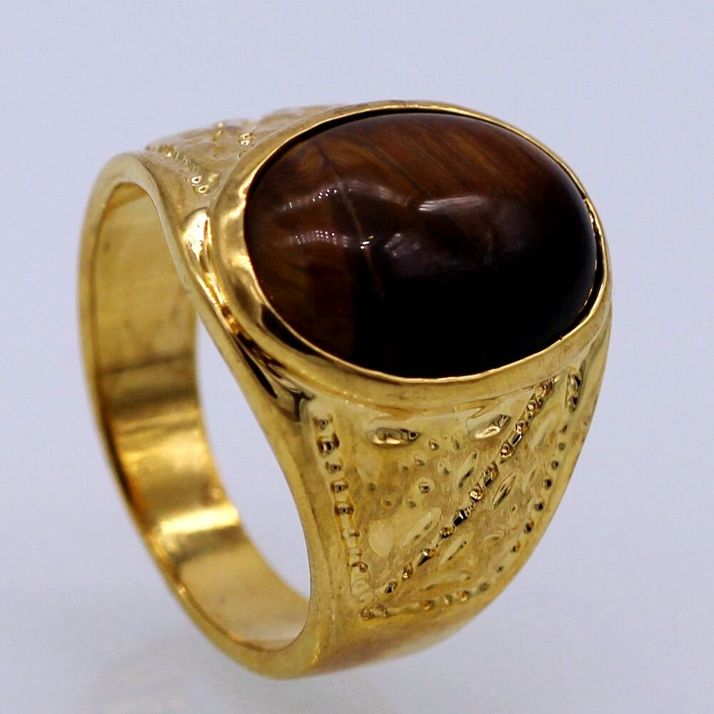 Tigers eye ring man women39s band 24k yellow gold plated for 24k gold wedding ring