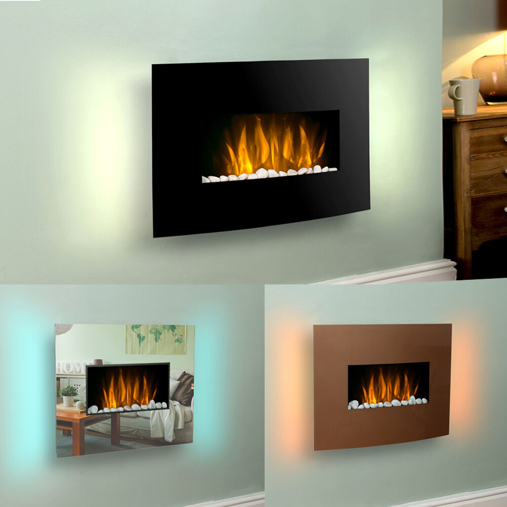 Modern slim 2kw wall mounted remote control led electric fireplace fire heater ebay - Contemporary fireplaces wall mounted ...