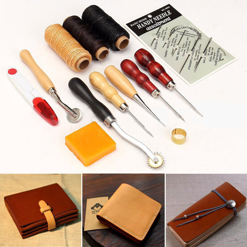Hand stitching sewing tools leather craft tool set thread for Leather craft kits for sale