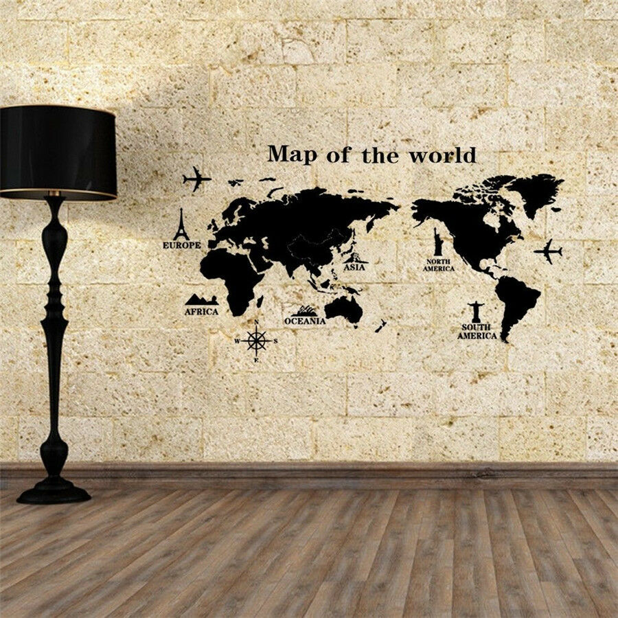 Diy world map removable pvc vinyl art room wall sticker for Home decor maisons laffitte