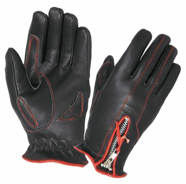 Womens Red & Black Leather - Motorcycle Gloves - Lined